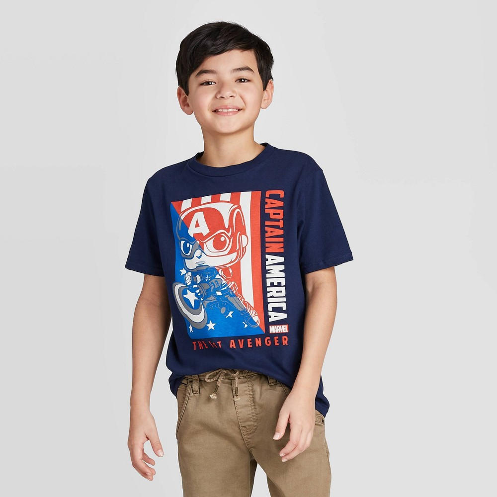 Image of Boys' Marvel 80th Capt America T-Shirt with Mini Funko POP - Blue L, Boy's, Size: Large, Gray