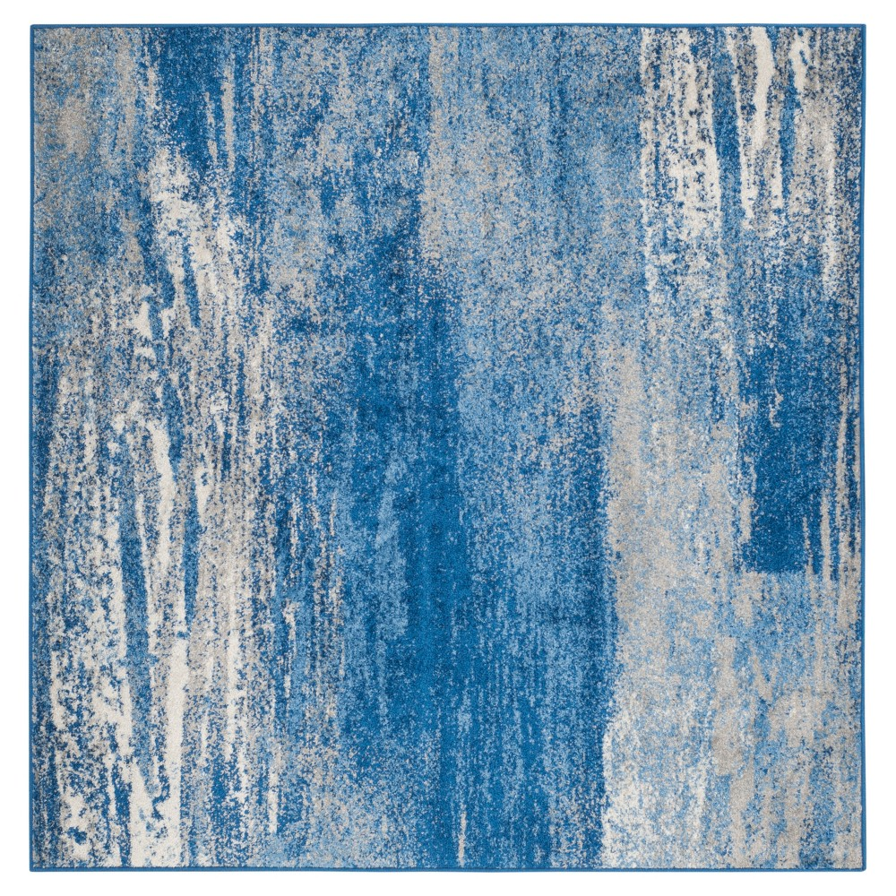 Silver/Blue Fleck Loomed Square Area Rug 8'X8' - Safavieh