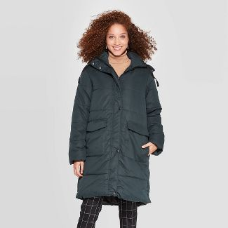 Women's Quilted Puffer Jacket - A New Day™ Green XS