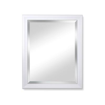 "28"" x 34"" Beachside Beveled Framed Glass Bathroom Wall Mirror White - Alpine Art & Mirror"