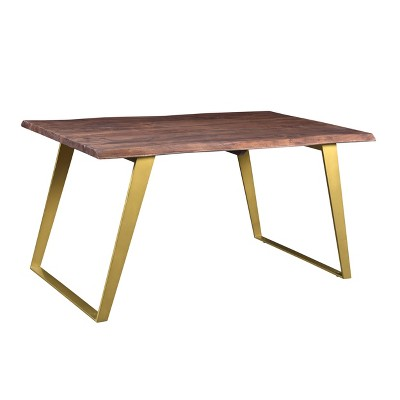 """60"""" Sheesham Live Edge Dining Table Brown/Gold - Timbergirl"""