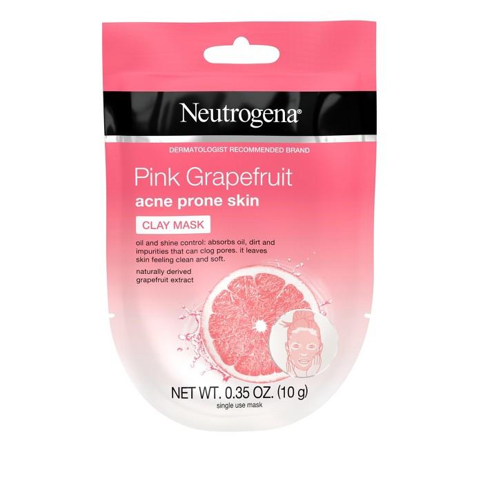 Neutrogena Pink Grapefruit Acne Prone Skin Clay Face Mask 1ct/0.35oz - image 1 of 8