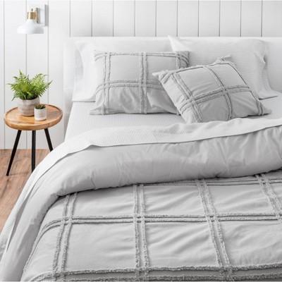 King 3pc Skylar Chenille Comforter Set Gray - Martha Stewart