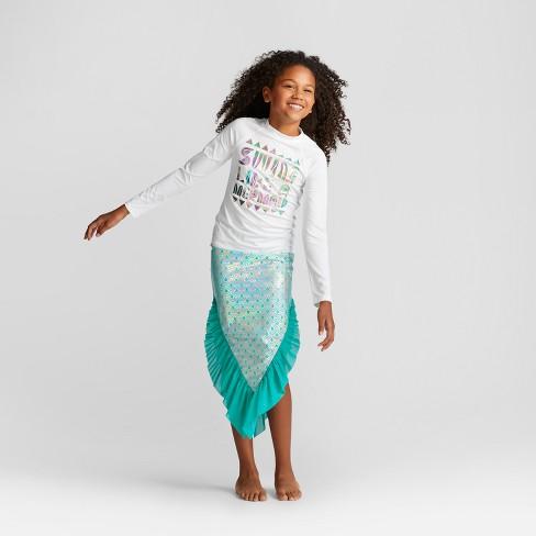 d97b9f75a3 Girls  Long Sleeve Swim Like A Mermaid Rashguard - Cat   Jack™ White ...