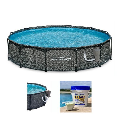 Summer Waves P20012331 Active 12ft x 33in Round Frame Above Ground Swimming Pool Set with Skimmer Filter Pump, Cartridge & Solution Blend, Gray Wicker