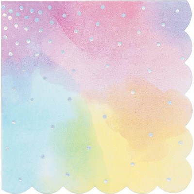 48ct Iridescent Disposable Lunch Napkins Pink