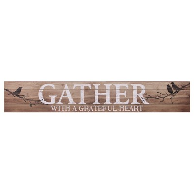 6 x36  Gather with a Grateful Heart Wood Wall Art White - Patton Wall Decor