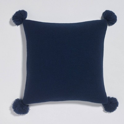 "18""x18"" Sweater Knit Pom-Pom Reversible Throw Pillow - Sure Fit"