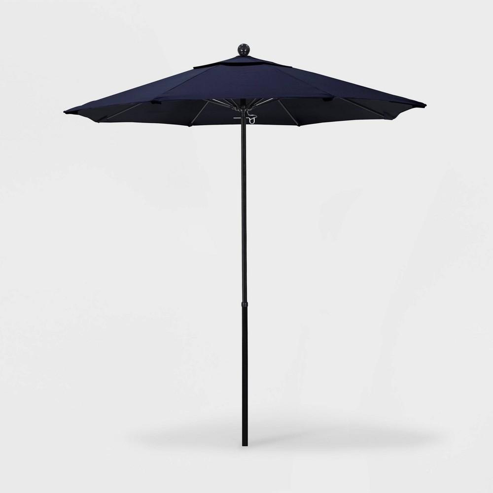 7.5' Oceanside Push Lift Patio Umbrella with Fiberglass Pole - Pacifica Navy Blue - California Umbrella