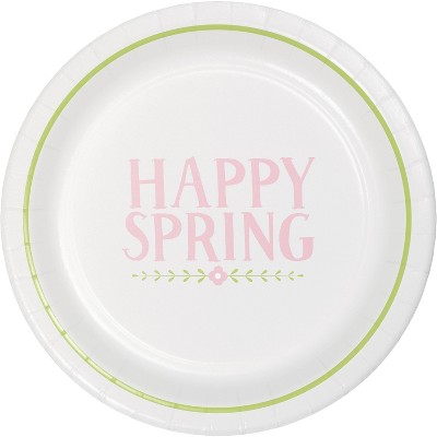 20ct Disposable Easter Plates Round Happy Spring