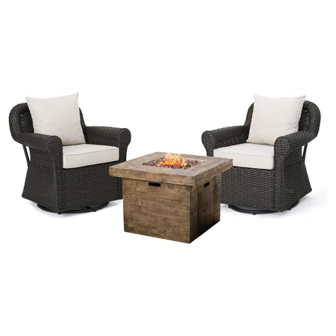 Avondale 3pc All Weather Wicker Patio Chair Set W Fire Pit Dark Brown Christopher Knight Home Target