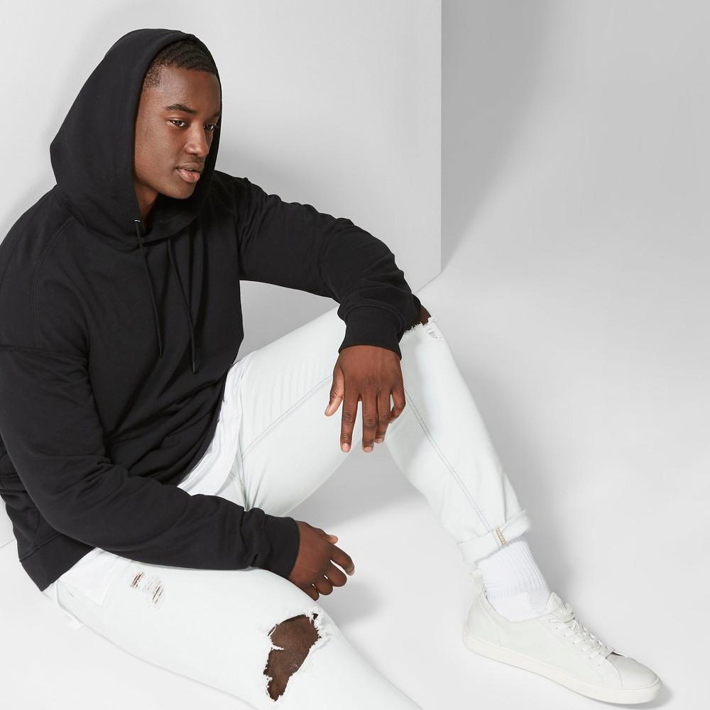 Men's Big & Tall Long Sleeve Raw Edge Hooded Sweatshirt - Original Use Black 4XB