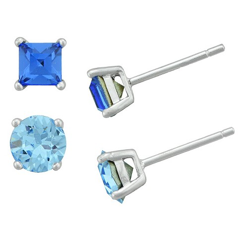 Women's Sterling Silver Square Sapphire Crystal Stud and Round Light Sapphire Crystal Stud Set (4mm/5mm) - image 1 of 1