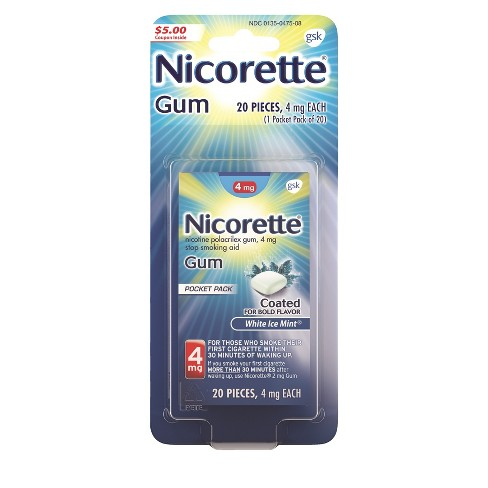 Nicorette 4mg Gum Stop Smoking Aid - White Ice Mint - image 1 of 10