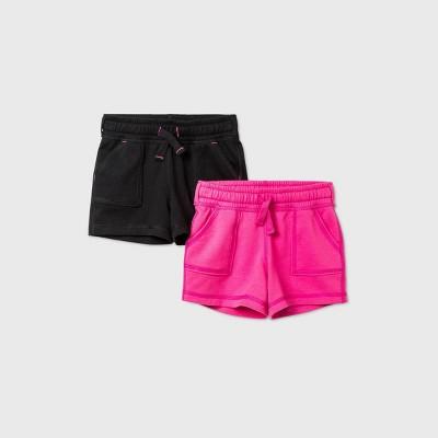 Toddler Girls' 2pk Adaptive Knit Shorts - Cat & Jack™ Black/Pink