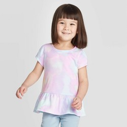 Toddler Girls' Short Sleeve Tie-Dye Peplum T-Shirt - Cat & Jack™ Purple