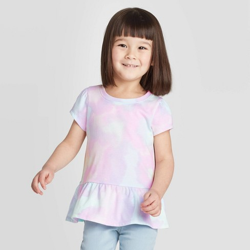 Toddler Girls' Short Sleeve Tie-Dye Peplum T-Shirt - Cat & Jack™ Purple - image 1 of 3