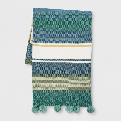 Teal and White Stripe Throw Blanket - Opalhouse™
