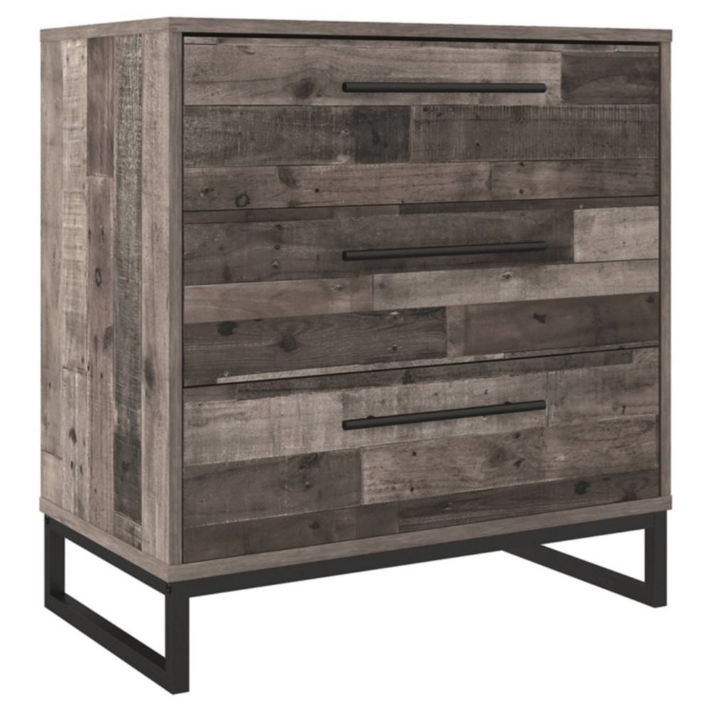 Neilsville 3 Drawer Chest Gray Signature Design By Ashley