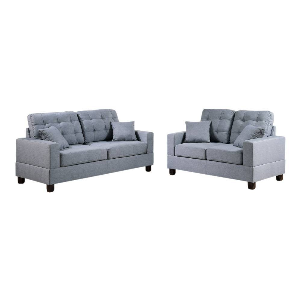 Image of 2pc Gracious Sofa Set With Pillows Gray - Benzara
