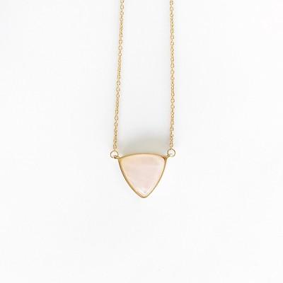 Sanctuary Project Rose Quartz Triangle Statement Pendant Necklace Light Pink