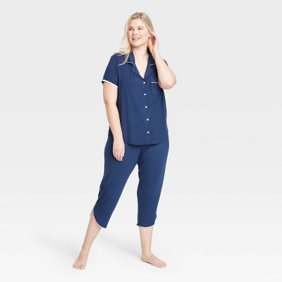 Women's Plus Size Beautifully Soft Crop Notch Collar Top Pajama Set - Stars Above™ Navy 2X