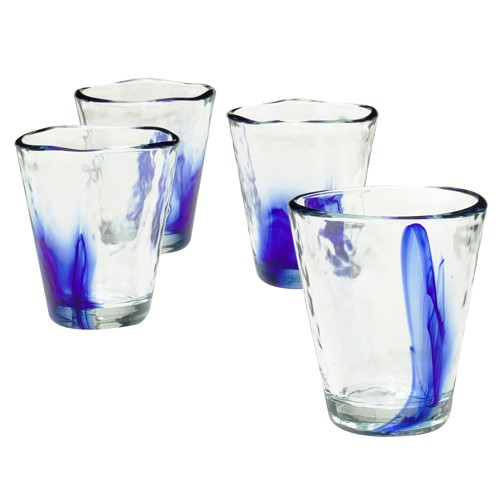 Murano On the Rocks Tumblers 9oz Set of 4 - Cobalt Blue