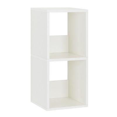 Way Basics 2-Shelf Duo Narrow Bookcase Shelf, Natural White - Formaldehyde Free - Lifetime Guarantee