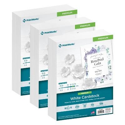 "3pk 250 Sheets/Pack 110lb Cardstock 8.5""x11"" White - PrintWorks"