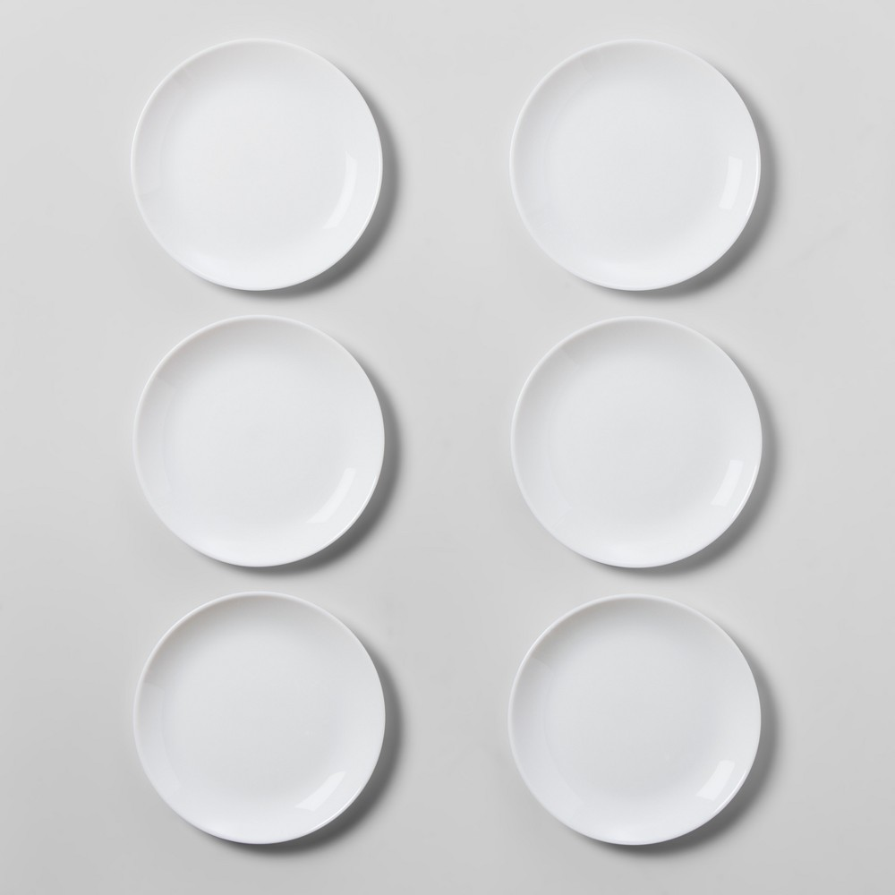 Glass Salad Plates 7.4 White Set of 6 - Made By Design