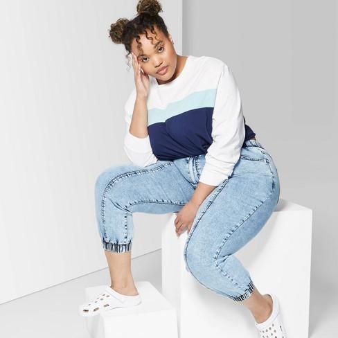 Women\'s Plus Size High-Waist Jogger Jeans - Wild Fable™ Light Acid Wash