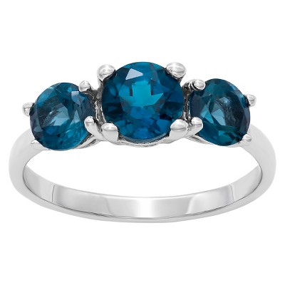 1.76 CT. T.W. Pas Present Future 3-Stone Gemstone Ring In Sterling Silver