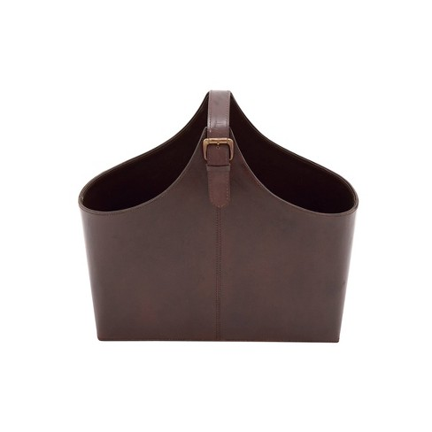 """14"""" x 16"""" Traditional Leather Magazine Holder with Belt Strap Handle - Olivia & May - image 1 of 2"""
