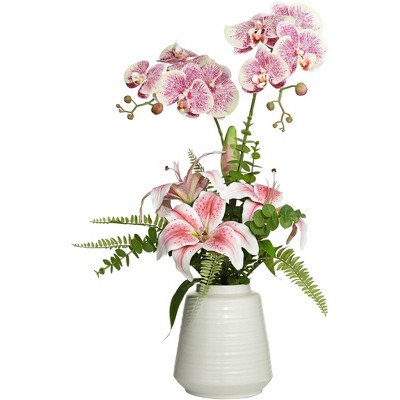 """Dahlia Studios Pink Lily 29"""" High Faux Flowers in Vase"""