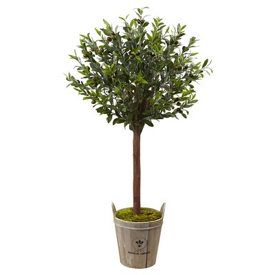 4.5' Olive Topiary Tree with European Barrel Planter - Nearly Natural
