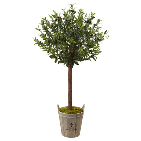 4.5' Olive Topiary Tree with European Barrel Planter - Nearly Natural - image 1 of 4