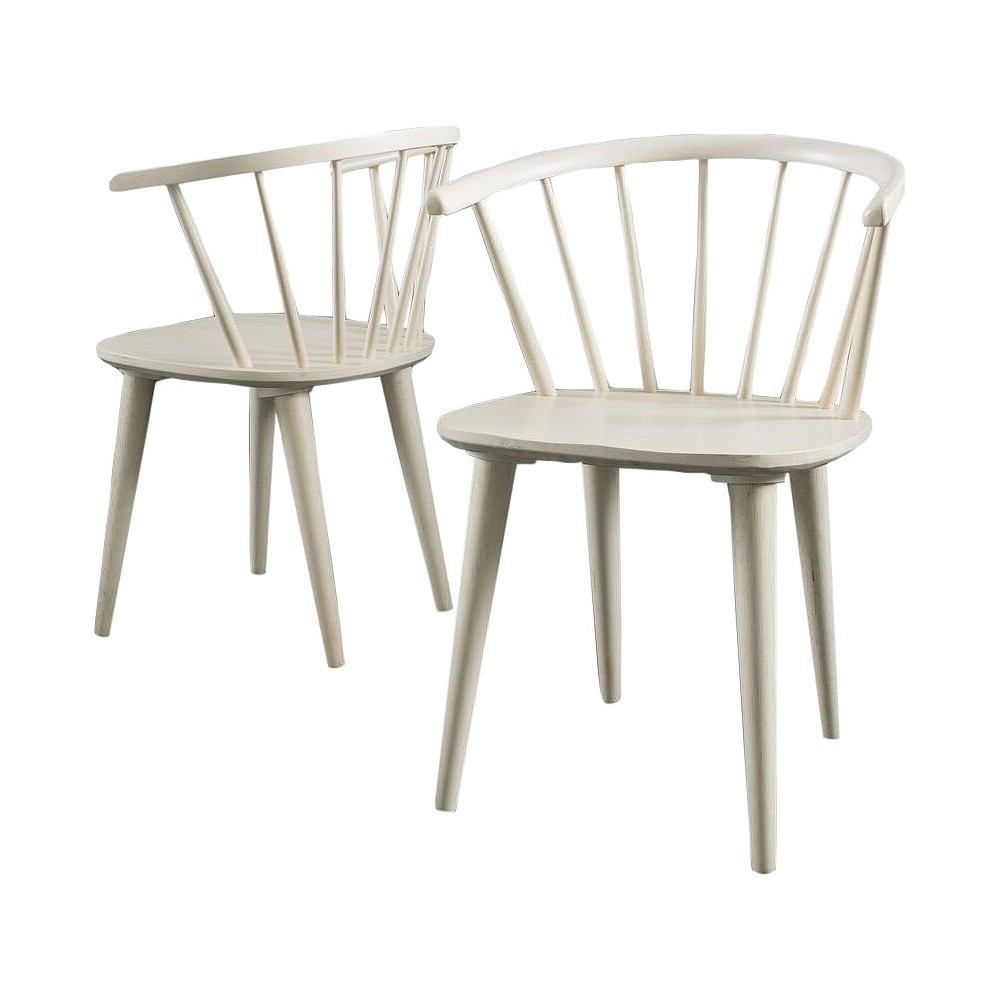 Countryside Rounded Back Spindle Wood Dining Chair Antique White (Set of 2) - Christopher Knight Home