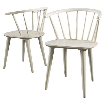 Countryside Rounded Back Spindle Wood Dining Chair Antique White (Set Of 2)    Christopher Knight Home
