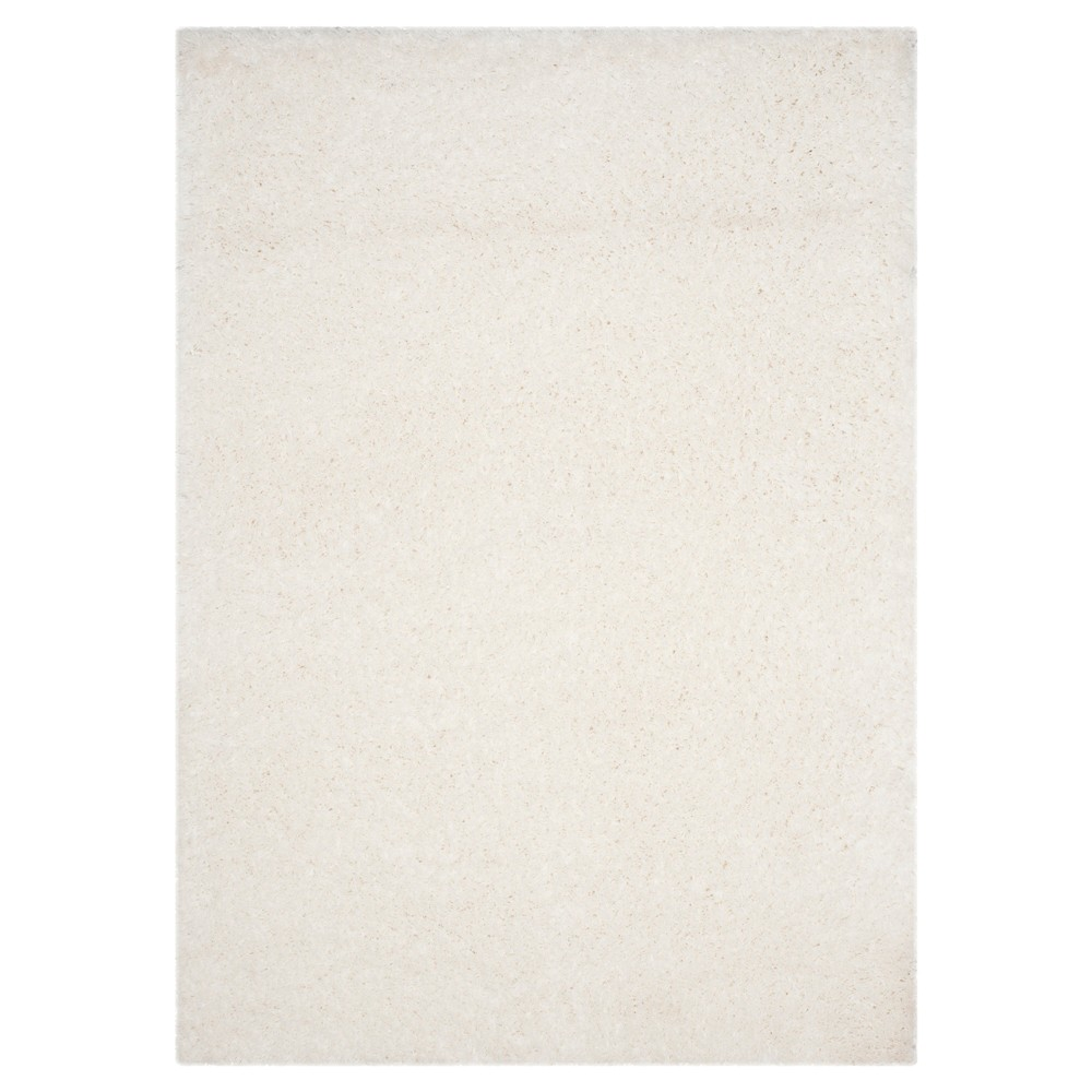 White Solid Loomed Area Rug - (5'1