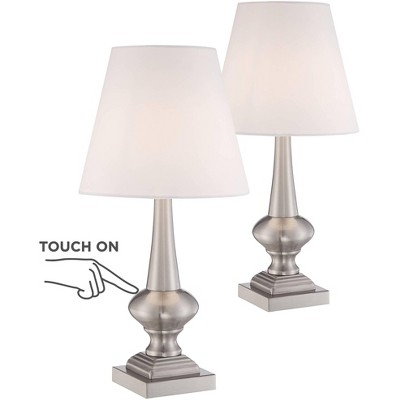 """360 Lighting Modern Table Lamps 19"""" High Set of 2 Touch On Off Brushed Nickel White Empire Shade for Bedroom Nightstand Office"""
