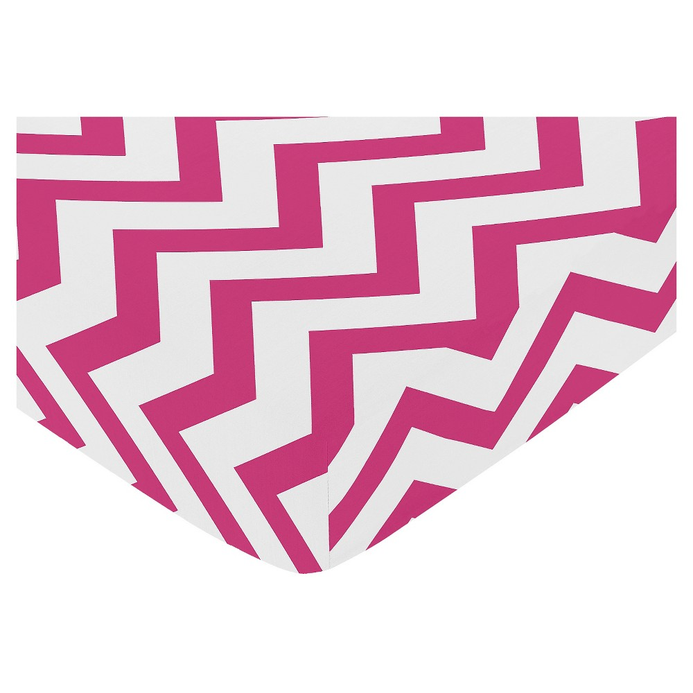 Sweet Jojo Designs Pink & White Chevron Fitted Crib Sheet - Pink