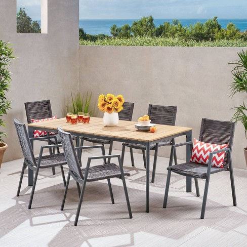 Gellert 7pc Aluminum and Eucalyptus Modern Dining Set Gray/Natural - Christopher Knight Home - image 1 of 4