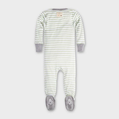 06c5ffe37a2 Burt s Bees Baby Organic Cotton Mini Stripe Footed Sleeper - Green   Target