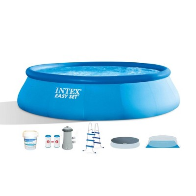 Intex 26165EH 15ft x 42in Above Ground Inflatable Swimming Pool Bundle with Pump, Ladder, Cover, and 10 Pound Bucket of Chlorine Tablets