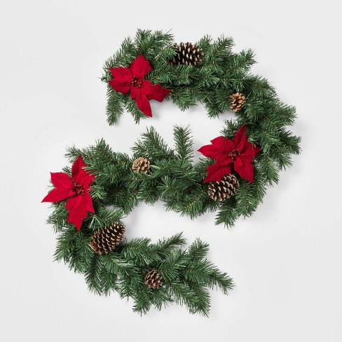 Christmas Pine Garland.6ft Christmas Red Poinsettia And Ornaments Artificial Pine Garland Wondershop