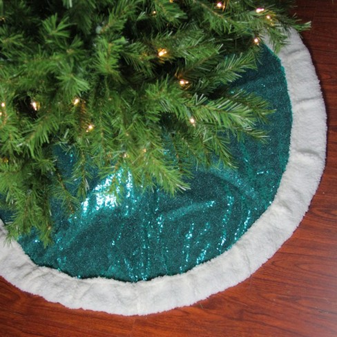 Northlight 47 Green Paillette Sequins Round Christmas Tree Skirt With Sherpa Border Target