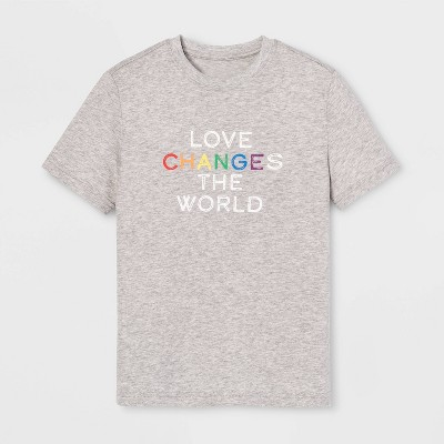 Pride Kids' Short Sleeve Love Changes The World T-Shirt - Calm Gray XL