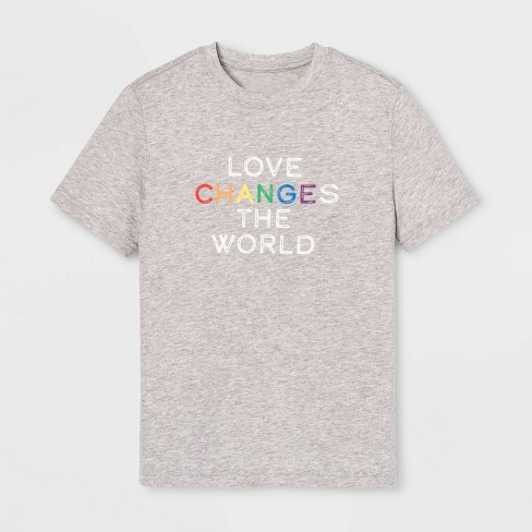 Pride Kids' Short Sleeve Love Changes The World T-Shirt - Calm Gray - image 1 of 1