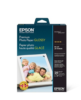 "Epson 20-ct Premium Photo Paper 5""x7"" - White (S041464)"