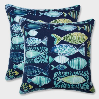 18.5  2pk Hooked Lagoon Throw Pillows Blue - Pillow Perfect